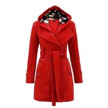 Зимнее шерстяное пальто с капюшоном для женщин двубортный Кардиган Куртка клетчатое длинное хлопковое пальто с поясом одежда Vestidos LBD6321