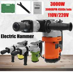 110/220V Electric Drills 3000W 3000BPM Electric Demolition Electric Hammer Drill Concrete Breaker Punch Jackhammer 4500r/min