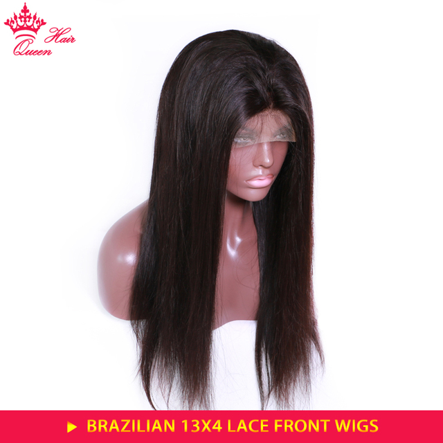 Queen Hair Products Straight Lace Front Wig Natural Color Pre Plucked 150% Density Brazilian Human Hair Frontal Wigs Glueless