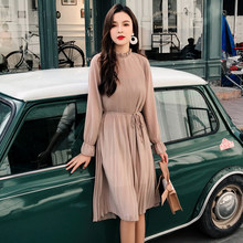 Women Two layers chiffon pleated dress 2019 spring autumn female vintage elegant long sleeve loose casual office lady dress(China)