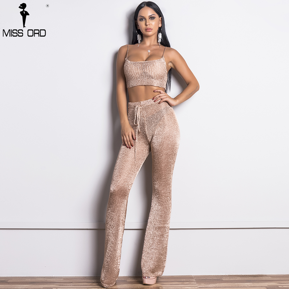 Missord 2017 Women Sexy Gold Thread Off Shoulder Two Pcs Set Rompers Female Elegant Solid Color Jumpsuit FT9357-1