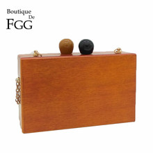 Famous Brand Women Wooden Shoulder Bag Evening Party Wood Box Clutch Bag Ladies Hard Case Day