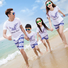 Summer brand parent-child beach holiday vacation set a family of three cartoon costume cotton print suit