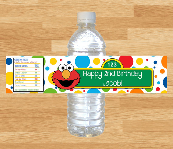 Personalized Sesame Street Elmo Bottle Water LabelswrappersBaby ShowerBirthday Party Decorations