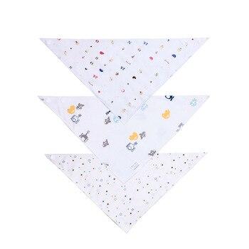 10PCS 40*29CM 3 Pattern Print Newborn Baby Bibs Waterproof Adjustable Cotton Feeding Baby Saliva Towel For 0-24 Months