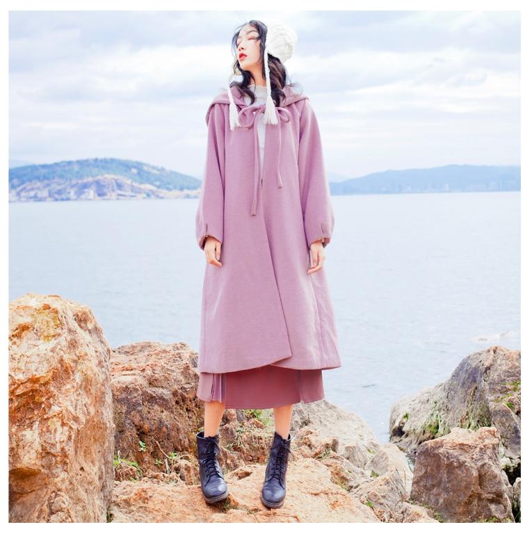 YOSIMI осень зима женское длинное шерстяное пальто красное пальто с капюшоном пальто Макси длинное шерстяное пальто Женская куртка длинное женское пальто - Цвет: Розовый