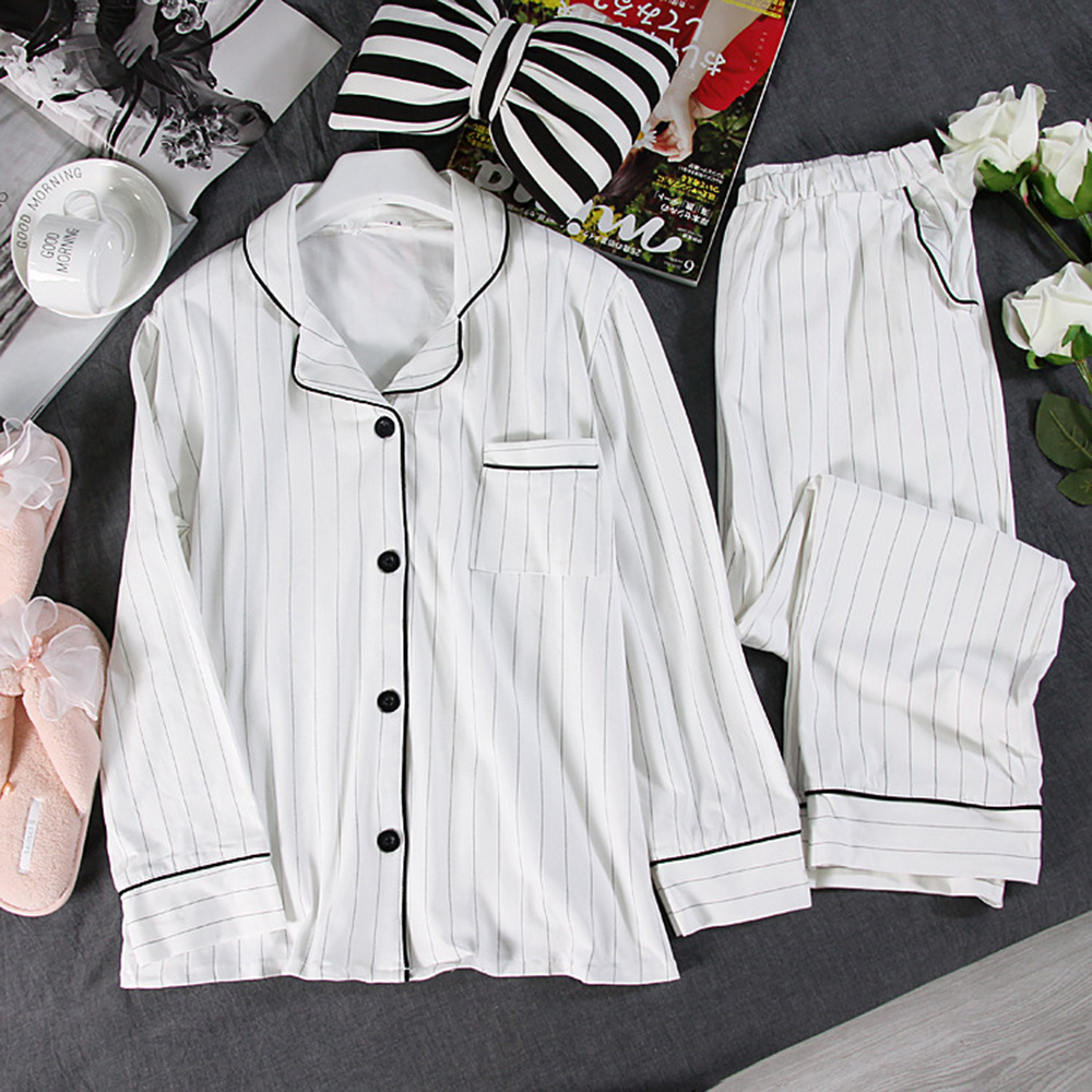 Women   Pajamas     Set   White Striped Casual Cotton Long Sleeve Sleepwear Suit 2 Piece Sexy Spring Homewear Lounge Pant Suit for Women