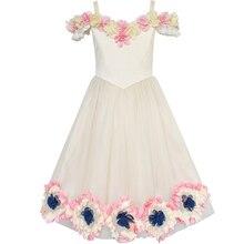 цена на Flower Girls Dress Cold Shoulder Bridesmaid Wedding Princess 2020 Summer Party Dresses Girl Clothes Pageant Sundress Vestidos
