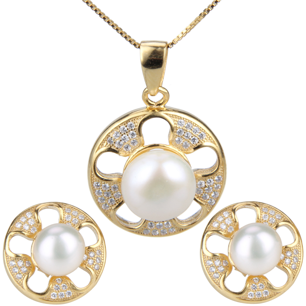 Latest women 925 sterling silver yellow gold plated necklace earrings pearl set 925 silver plated flower necklace