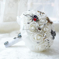 Colorful Sparkle Crystal Beaded Wedding Flowers Bouquet Bridesmaid Bride Bridal Brooch Bouquet 2017 New Buque De Noiva