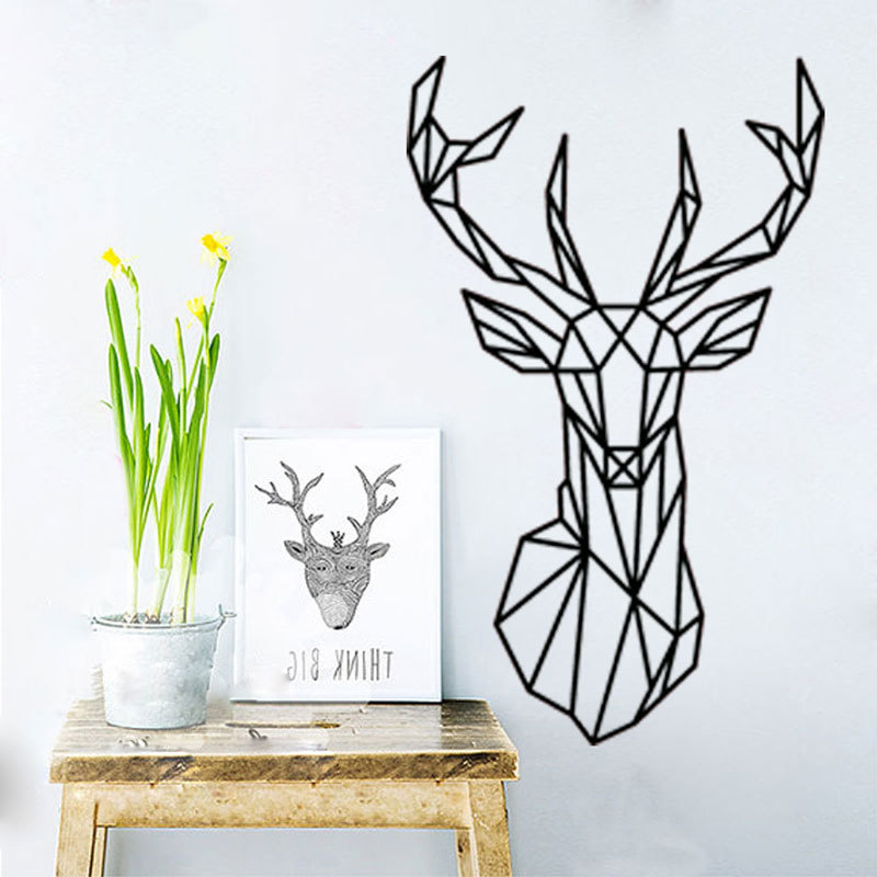 Us 3 17 30 Off Geometric Deer Head Diy Wall Sticker Removable Minimalism Animal Series Art Wallpaper Living Rooms Wall Paintings Home Decorate In