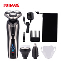 RIWA RA-5505 3 в 1  моющаяся электробритва с ЖК-дисплеем  3D вращающееся плавающее лезвие  триммер для носа и ушей  многофункциональный набор для муж...