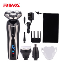 RIWA RA 5505 3 in 1 LCD Display Washable Electric Shaver 3D Rotary Floating Blade Nose Ear Trimmer Multifunction Kit for Men