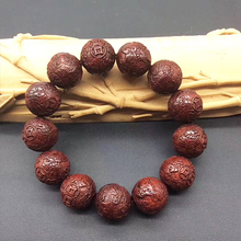 18mm Natural India Red Sandalwood Beads Grade AAA High-density Carved Mythical Wild Animal Japa Mala Man Bracelet DIY Accessorie