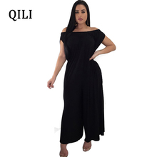 QILI New Arrivals Women Loose Jumpsuits Romper Elastic Slash Neck Wide Leg Casual Black Red Overalls