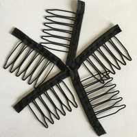 20-40 pcs/Lot black color cloth wig combs 6 teeth hair wig clips for full lace wig cap wig accessories