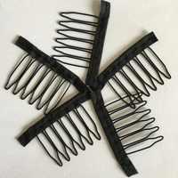 20-40 teile/los schwarz farbe tuch perücke kämme 6 zähne haar perücke clips für volle spitze perücke kappe perücke zubehör