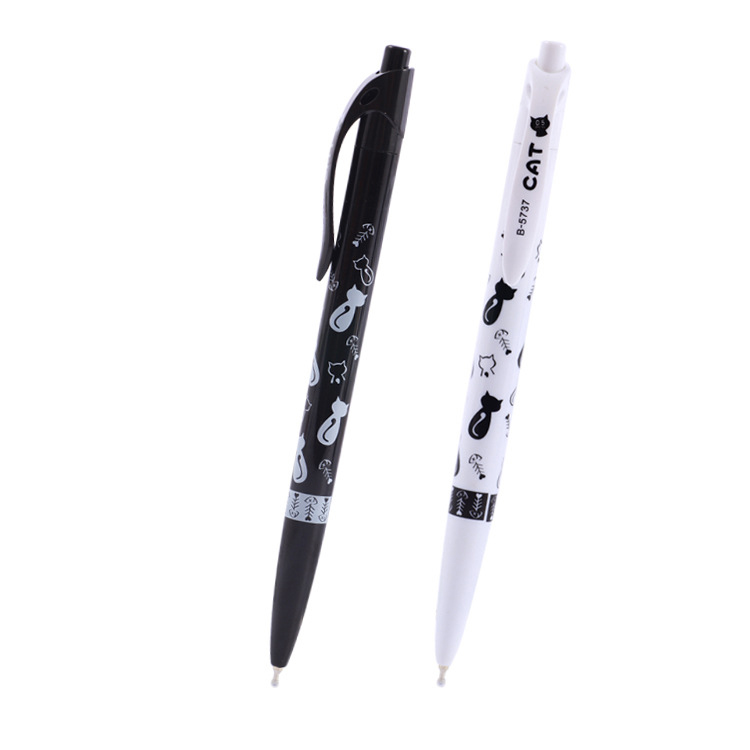 1 Pc Cute Black White Cat Ballpoint Pen Kawaii 0.5mm Blue Stationery Pen For Kids Office School Supplies Estojo Escolar