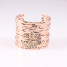 10PCS Mix Custom Engraved Positive Inspirational Quote Cuff Mantra Bracelet Bangle for Women Stainless Steel Open B (COLOR:ROSE)