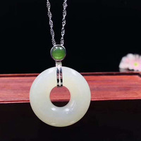 Natural Hetian Jade Pendant Jewelry 925 Sterling Silver Necklace Pendant Fine Jewelry