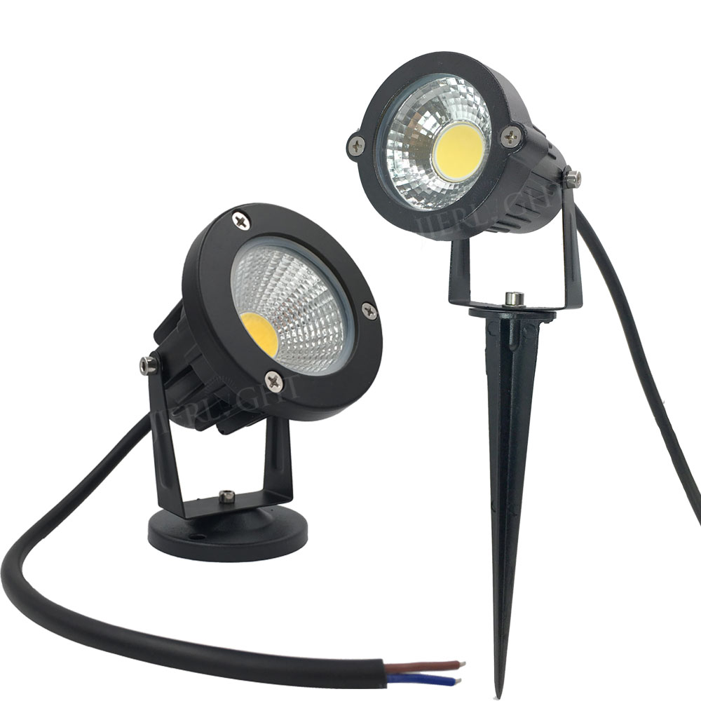 Envío gratis Jardín spot light led COB 3W 5W IP65 jardín exterior led spot light 12V 110V 220V led jardín spike light para jardín