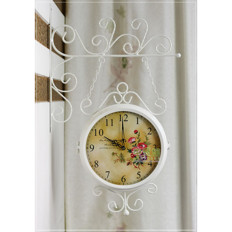 Double sided Wall Clock Modern Design Saat Relogio de Parede Wrought Iron Wall Clock Reloj de Pared Horloge Murale Duvar Saati