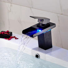 Luxury Color Changing LED Waterfall Bathroom Sink Basin Mixer Faucet Deck Mount Single Lever with Hot