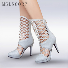 Plus Size 34-43 women sandals Sexy Cutouts Open Fashion high heels Mid-Calf Cool boots summer Gladiator Party Wedding shoes pump