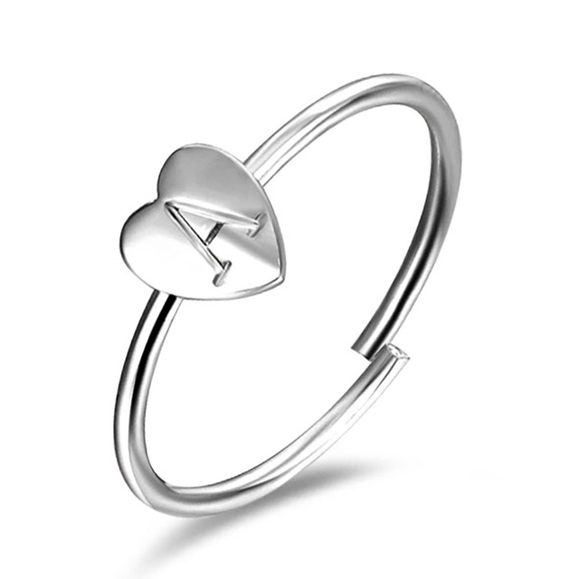 FAMSHIN Gold Silver Color Heart Letters Name Ring Set Engagement Party Jewelry 2