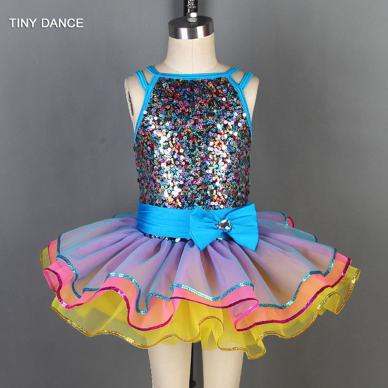 Multi-Color Sequin Bodice with Layers of Tulle Tutu Ballet Dress for Girls Dancing Tutu Costumes Dancewear 19808