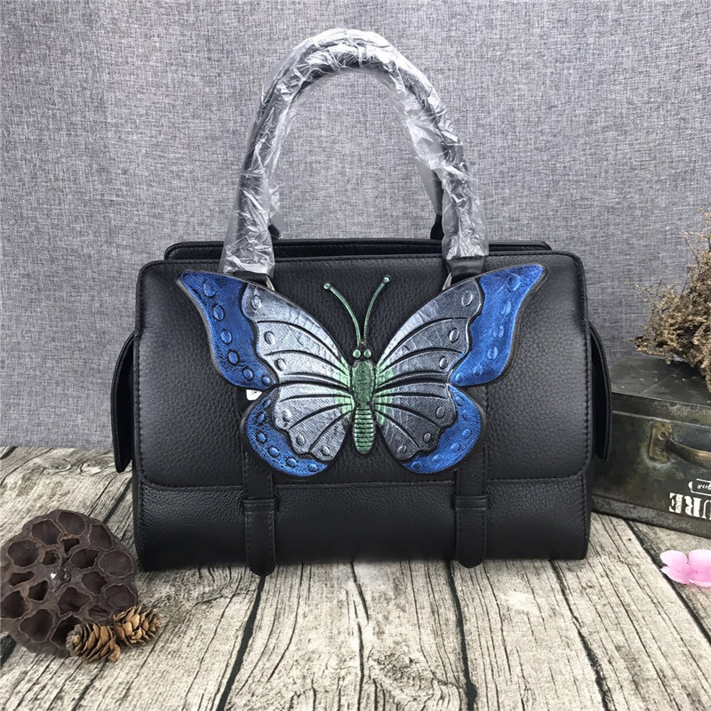 2017 Fashion Women Genuine leather Butterfly Flower Handbag ladies Satchel shoulder bag Women Totes Large Capacity Handbag women pu leather messenger bag satchel ladies fashion crossbody shoulder bags high quality women s handbag large capacity totes