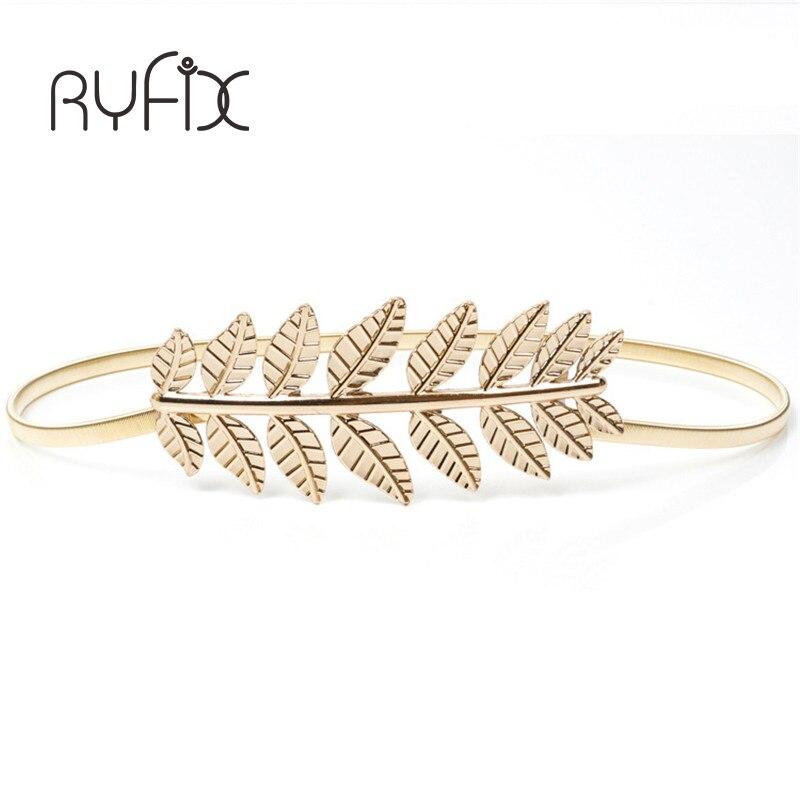 high quality 2019 waistband chain  Fashion women elastic metal belt Vintage Elastic Leaf women gold silver skinny belt   BL08