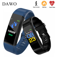 DAWO 115Plus Fitness Bracelet Tracker Blood Pressure Heart Rate Monitor Women Smart Wrist Watch PK fitbits amazfit miband 2 3