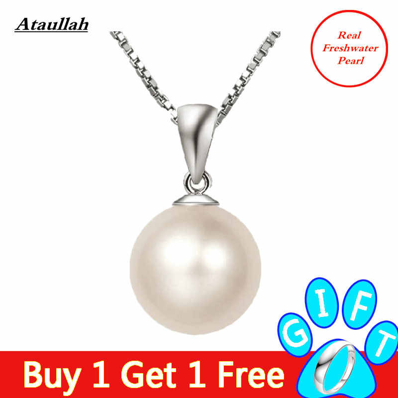 Fresh Water Imitation Pearl Necklace 925 Sterling Silver Chain Jewelry WNW145