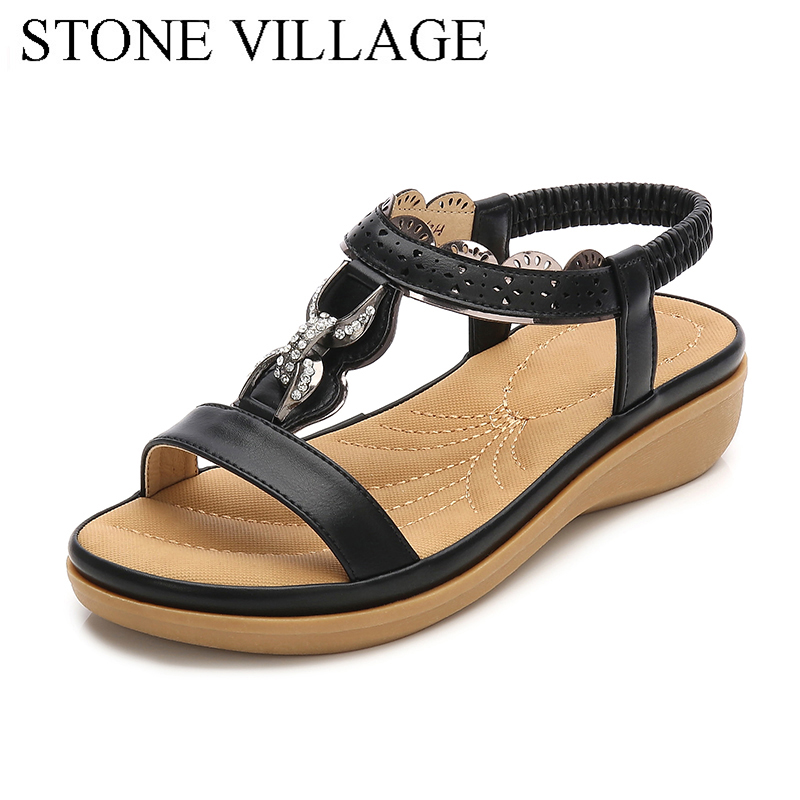 2018 New Summer Crystal Metal Bohemian Women Sandals Fish Mouth Comfortable Wedges Platform Sandals Women Shoes Black Khaki sagace shoes women 2018 summer high heel fish mouth platform wedges sandals fresh style weekend shopping party shoes jl 03