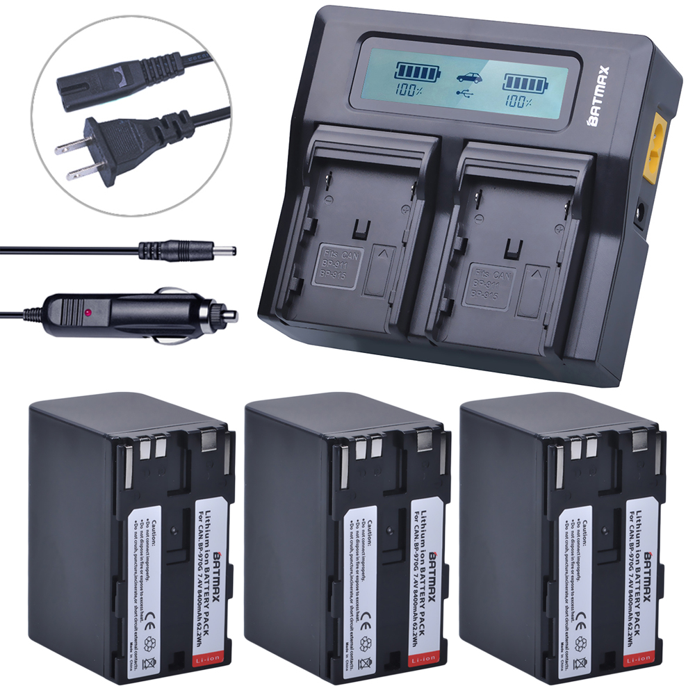 Batmax 3pc Battery Pack BP-970G BP 970G BP-975 Batteries +LCD Rapid Dual Charger for Canon XLH1 XHG1 XHA1 XL2 XM2 XH G1S XF305 canon bp 970g