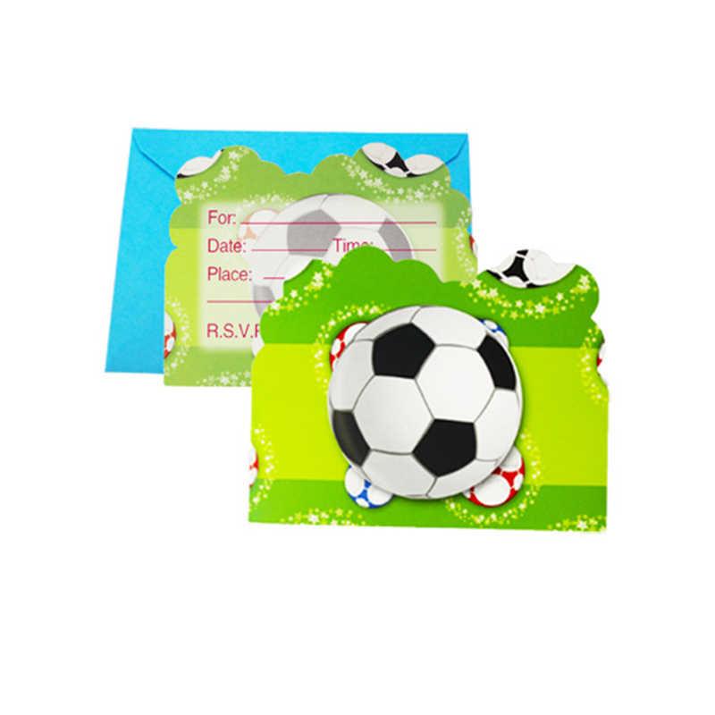 12 Unids Lote Fútbol Tarjeta De Invitación Con Sobre Para La Fiesta De Una Niña Chico Favores Feliz Fiesta De Cumpleaños Suministros Y Decoración