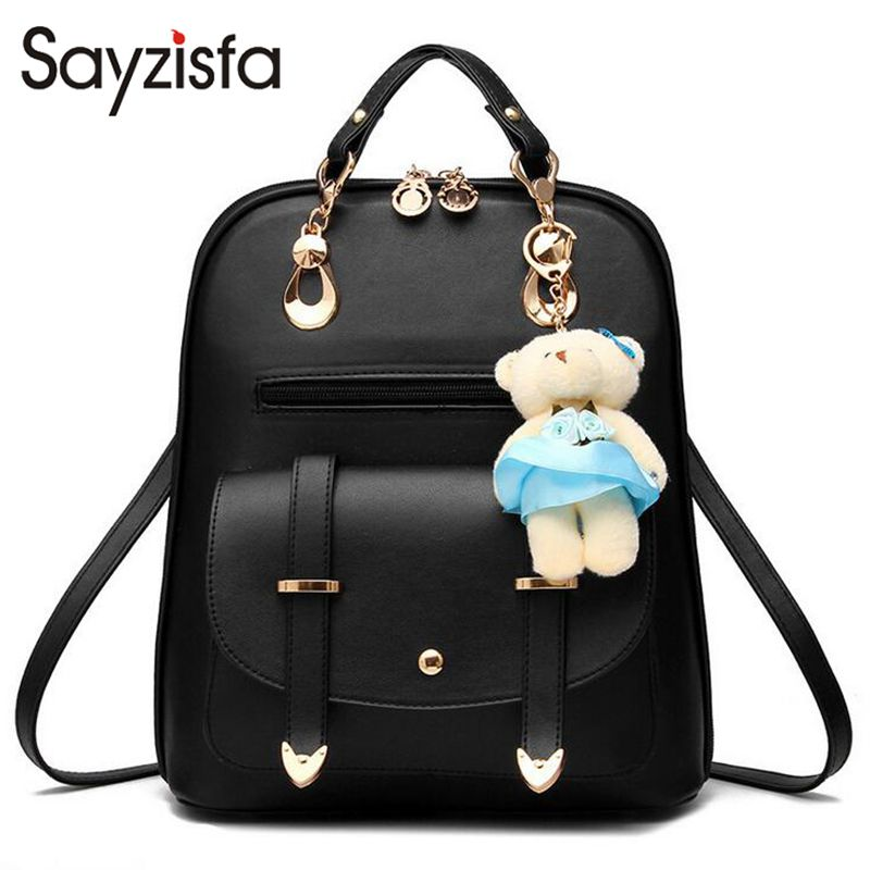 Sayzisfa Women Backpacks Leather New Candy Color Student School Bags for Teenagers Girls Backpack Women Bag Mochila Female T320 new gravity falls backpack casual backpacks teenagers school bag men women s student school bags travel shoulder bag laptop bags