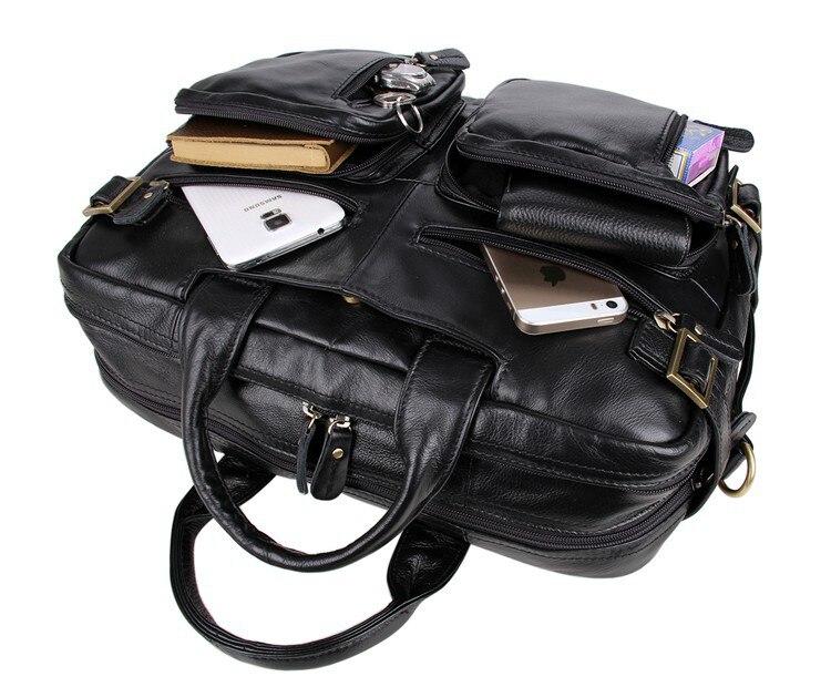 Grande taille en cuir véritable hommes d'affaires voyage Messenger sacs en cuir sacs à main pour hommes mode bureau Documents Pack sacs - 5