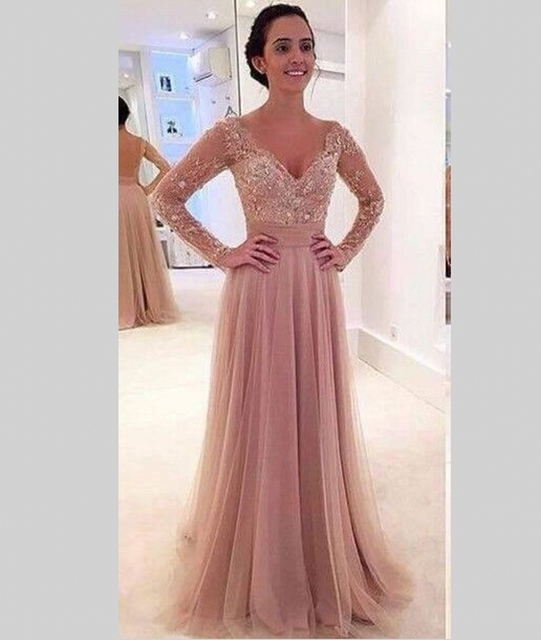 Aliexpress Com Buy Sparkly Lace Long Sleeve Prom Dresses