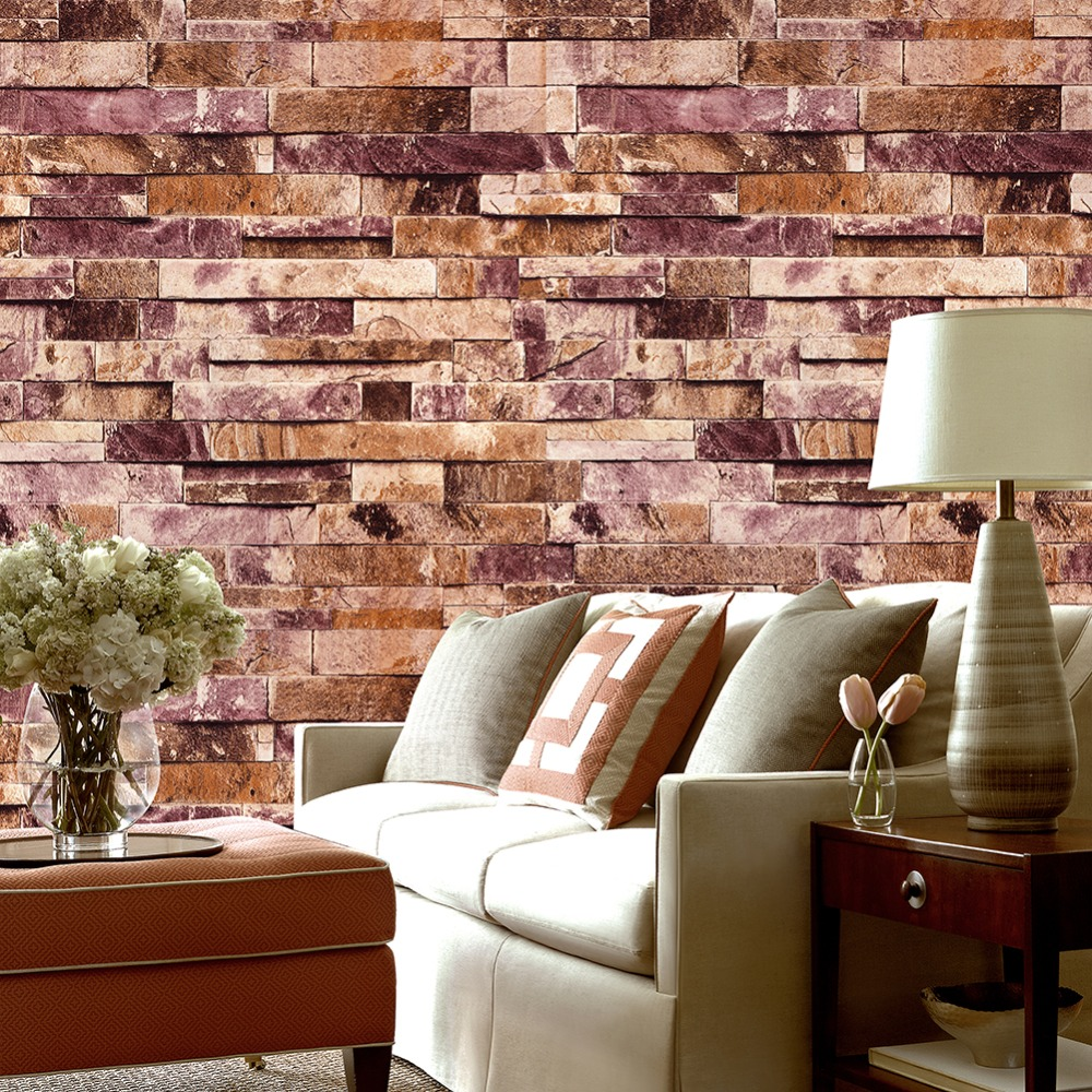 HaokHome PVC Vintage Faux Brick Stone Vinyl Wallpaper Wall covering For Wall 3d Living room Bedroom Bathroom Home Decoration vintage 3d stone brick wall wallpaper pvc waterproof wall paper bedroom living room wall decoration vinyl wallpaper for walls 3d