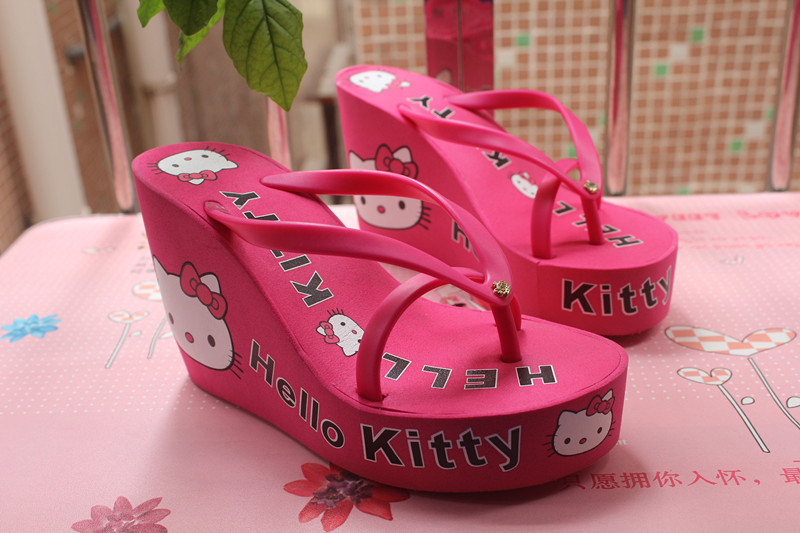 be21fbac1 New 2015 11cm high heels Women Flip Flops hello kitty high heeled sandals  Sponge cake bottom slope with sandals Free shipping-in Women's Sandals from  Shoes ...