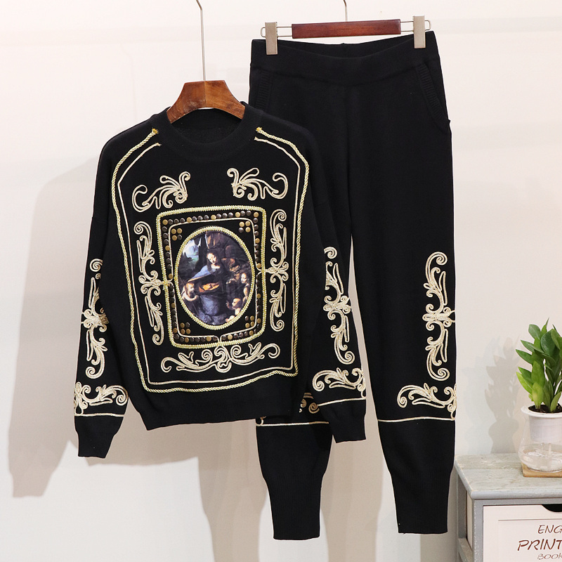 Fashion 2 Piece Set Women Tracksuit Autumn Winter New Flower Long Sleeve Sweater + Leisure Pants Two Pieces Knitting Pants Suit