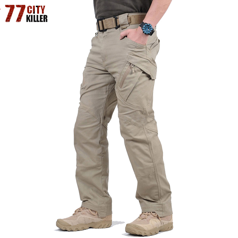 Tactical Pants Army Military Style Cargo Pants Men IX9 S-5XL Combat Trousers Casual Work Trousers SWAT Thin Pocket Baggy Pants(China)