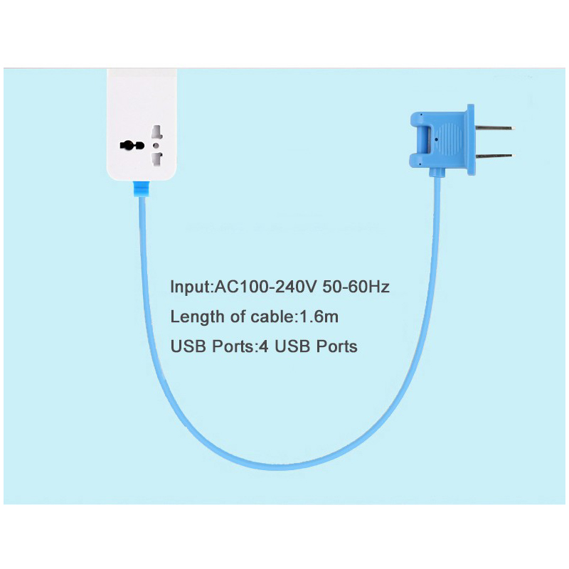 Fast Charging 4 Ports Wall Socket Universal USB Power Strip Portable ...