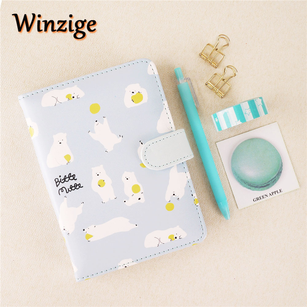 Cute Polar Bear Leather Hardcover Bullet Journals Stationery Suit Notebook Gel Pen Clip Planner Set Student Noted Diary Agenda молокоотсос small polar bear hl 0610 0611 0613 0683 09500
