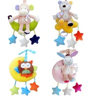 High Quality Animal Sit On The Moon Hanging Crib Toys Cartoon Baby Bear Donkey Monkey Owl Stuffed Baby Rattle Musical Mobile