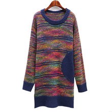 NiceMix New Autumn Women Dress Knitted Stripe Sweater Long Sleeve Dresses