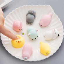 Funny Gift Bear Cute Cat Anti-stress Squishy Toys Lovely Silicone Hand Squeeze Baby Toys Kawaii Squishies Animals Rabbit(China)