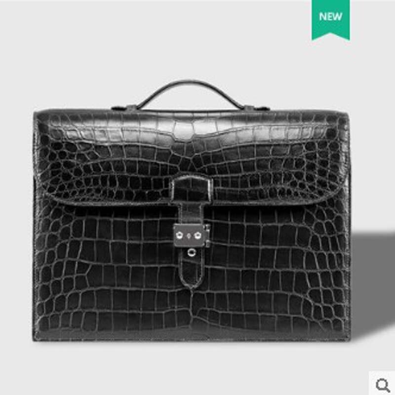 Cestbeau Import Nile Crocodile Clamshell Handbag Leather Lock Buckle Man's Briefcase Whole Skin On Abdomen